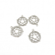 20 Pieces Antique Silver Tone Jewellery Making Charms I9VE1 Pentacle Pendant Ancient Findings Craft Supplies Bulk Lots