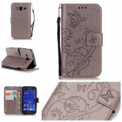 For Samsung Galaxy Core Prime G360 Case Cover [with Free Screen Protector], Funyye Elegant Premium Folio PU Leather Wallet Magnetic Flip Cover with [Wrist Strap] and [Credit Card Holder Slots] Stand Function Book Type Stylish Butterfly Leaf Vines Desig ..