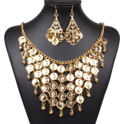 OULII Belly Dance Jewellery Set Gold Necklace Earrings for Party Favours Costume Accessories