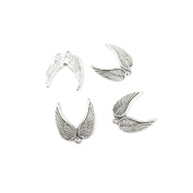 610 x Antique Silver Tone Jewellery Making Charms Findings Handmade Necklace Bracelet Bulk Lots Supplier Supply Crafting B0132 Angel Wings