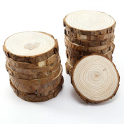 Wood Slices with Bark for Crafts, 8.9cm - 10cm 15pcs by MAIYUAN