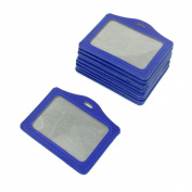 10 Pcs Faux Leather Horizontal Staff Name Badge Holder Blue
