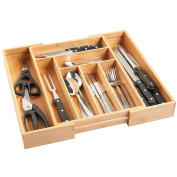 Expandable 6-8 Compartments Bamboo Wooden Kitchen Cutlery Drawer Utensil Organiser Divider Tray