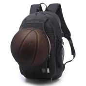 TXXCI Basketball Backpack 40cm Laptop Shoulders Bag with Basketball Net USB Charging Port