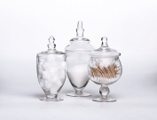 Set of 3 Clear Glass Apothecary Jars