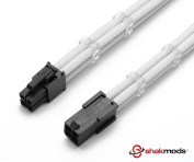 Shakmods 4 Pin ATX CPU Motherboard WHITE Heatshrinkless Sleeved Extension Cable with 2 Free Cable Combs 30cm