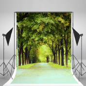 1.5m x 2.1m Green Photography Backdrop Countryside Road Spring Nature Photographic Backdrops For Wedding Photo Booth Props