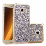 Galaxy A3 2017 Sparkle Case,Samsung A3 2017 Bling Case,Leeook Pretty Noble Silver Hexagonal Star Luxury Glitter Shining Fashion Slim Fit Design Ultra Slim Soft TPU Bumper Gel Rubber Bumper Skin Clear Silicone Protective Scratchproof Back Cover for Sams ..