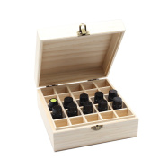 PURENJOY Best Quality Essential Oil Wooden Storage Box 25 Compartment Bottles for Size 5ml 10ml 15ml Essential Oils