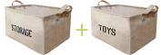 Youdepot Large Jute Storage Bin 17 x 33cm x 25cm Large Enough For Toy Storage - Storage Basket For Organising Baby Toys, Kids Toys, Baby Clothing, Children Books, Gift Baskets -2 Pcs Storage & Toys Bin