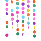 Outus 2 Packs 4 Metres Round Paper Garland Assorted Colours Circle Dots Hanging Decorations for Birthday Party Wedding