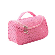 Sweet Lace Floral Waterproof Travel Makeup Bag Organiser Transparent Storage Bags Cover Pink