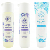 The Honest Company Dreamy Lavender - Shampoo + Body Wash (300ml) & Conditioner (300ml) & Unscented Face + Body Lotion