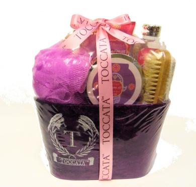 Argan Oil Morrocon Rose Toccata Bath Spa Gift Set - Shower Gel, Hand Cream, Bath Crystals, Bath Salt, Body Puff, Pumice Brush, Scoop, Sponge in a Velour Covered Gift Box