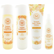 The Honest Company Sweet Orange Vanilla - Shampoo + Body Wash (300ml) & Conditioner (300ml) & Face + Body Lotion (250ml) + Conditioning Detangler