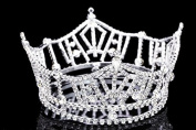 Mid Size 3 Tall Pageant Tiara Crown - Silver Plated Rhinestone Crystal T1016 by Venus Jewellery