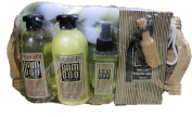 7 pc Bamboo Green Tea Luxury Bath Spa Gift Set - Shower Gel, Shampoo, Body Essence and Bath Crystals with Scoop, Back Puff in a Willow Gift Basket