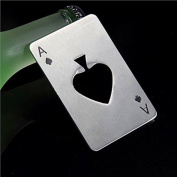 WODEJIAYUAN Beer Bottle Cap Opener Poker Playing Card Ace of Spades Bar Tool Soda Gift Bottle Cap Opener - Silver