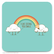 Funny Humorous 'Happy Clouds' Novelty Drinks Coaster