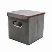 COKOSIM 25cm*25cm*25cm Fabric Folding Storage Cube Organiser Boxes Unit with Lids for Baby's Clothes, Toys and Craft supplies