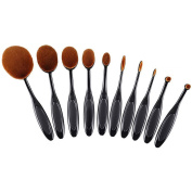 Ranphy 10pcs Oval Makeup Brush Set, Professional Toothbrush Set for Powders, Concealer, Contours, Foundation, Eyeshadow and Eyeliner