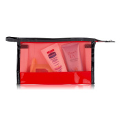 ACELIST Clear Vinyl Zippered Cosmetic Bag Carry Case Travel Makeup