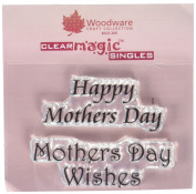 Woodware Clear Stamp Set Happy Mother Day Wishes mothers x 2 stamps