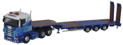 Oxford Diecast 76SHL01ST Scania Highline Nooteboom 3 Axle Semi Low Loader Stobart Rail