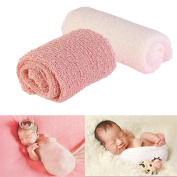 DmsBanga 2 Pcs DIY Newborn Baby Wrap-Baby Toddler Blankets Photography Ripple Wrap Photo Favours Colour Cloth Pink + White