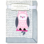 Wendy Bellissimo Mix & Match Owl Applique Plush Blanket in Grey/Pink