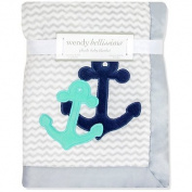 Wendy Bellissimo Mix & Match Anchor Applique Plush Blanket in Grey/Teal