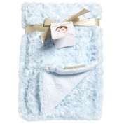 Blankets and Beyond Baby Blue Rosette Blanket 80cm x 80cm