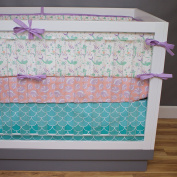 3 Piece Mermaid Crib Bedding Set by Modified Tot, Purple, Mint, and Teal Baby Girl Ocean Crib Bedding Set