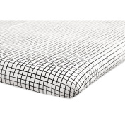Babyletto Tuxedo Grid Mini Crib Sheet, Grey