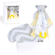 Bébé Soul Baby Gift Set : Bear Security Blanket with Teether, Bamboo/Cotton Chevron Muslin Swaddle Blanket (Large size 120cm x 120cm) Perfect Baby Shower Gifts / New Baby Gifts