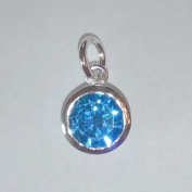 1.9ly Sterling Silver CZ Blue Topaz Colour Crystal 8mm Charm Drop by JensFindings