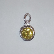 1.9ly Sterling Silver CZ Citrine Colour Crystal 8mm Charm Drop by JensFindings