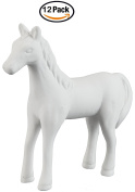 Creative Hobbies Cute Standing Horse, Case of 12, Unfinished Ceramic Bisque, With How To Paint Your Own Pottery Booklet