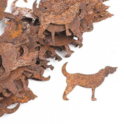 Group of 100 Flat Back Rusty Tin Dog Cutouts for Displaying, Crafting and Creating