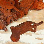 Group of 50 Rusty Tin Ultra Miniature Wheelbarrow Cutouts for Displaying, Crafting and Creating