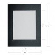 PMLAND 25 Pack 11x14 Black Picture Mats with White Core Bevel Cut for 8x10 Pictures Plus Backing Boards