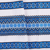 """Mothering Sunday SALE!!! Decorative fabric with Ukrainian ornament Tablecloth Easter ethnic White Blue black 100x150 cm / 40""""x59"""" EASTER GIFT IDEA"""