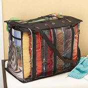 "No Mess 6 Skein Knitting Bag - Tidy Yarn Storage and Organisation On the Go - 41cm x 33cm x 10"" - Black"