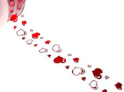 ACI PARTY AND SPIRIT ACCESSORIES Clear Ribbon with Red Hearts 27 yd. Roll
