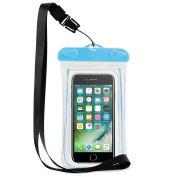 NEVEQ Blue Waterproof Case. Dry Cover Bag with Neck Strap, Light Reflecting and Glowing in the Dark Frame - Size Medium