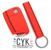 Finest-Filters Honeycomb Silicone Key Cover For VW B Red + Keytag Folia Golf 7 Leon Case