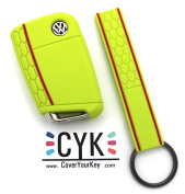 Finest-Filters Honeycomb Silicone Key Cover For VW B Lime Green + Keytag Folia Golf 7 Leon Case