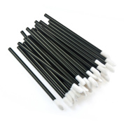 100pcs Disposable Lip Brushes - Black Lip Gloss Lipstick Brushes Applicators Wands Makeup Tool Kits