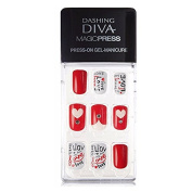 Dashing Diva Magic Press #142 Love Pills Full Cover Gel Nail Tips, Easy to attach without Glue (Asian Type, Disposable) MIPA84