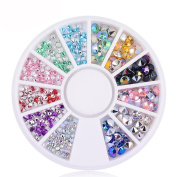 Elevin(TM) Round Shape Rectangle Women Ladies 3D Decal Stickers Acrylic Nail Art Gems Crystal Rhinestones DIY Decoration Stamping Manicure